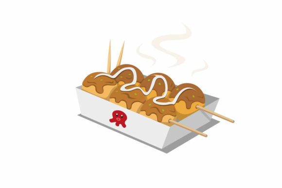 Download Free Takoyaki Japanese Street Food In Cartoon Graphic By Aryo Hadi Creative Fabrica for Cricut Explore, Silhouette and other cutting machines.