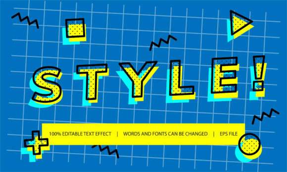 Print on Demand: Text Effect - Memphis Style Graphic Backgrounds By be young