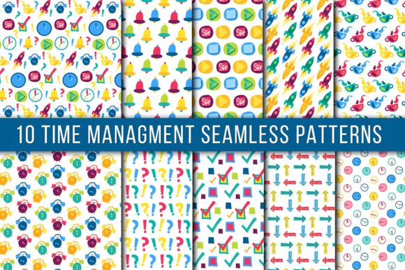 Download Free Time Mamagment Seamless Patterns Graphic By Barsrsind Creative for Cricut Explore, Silhouette and other cutting machines.
