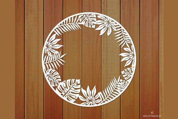 Print on Demand: Tropical Leaves Frame Paper Cut Template Graphic Crafts By DIYCUTTINGFILES