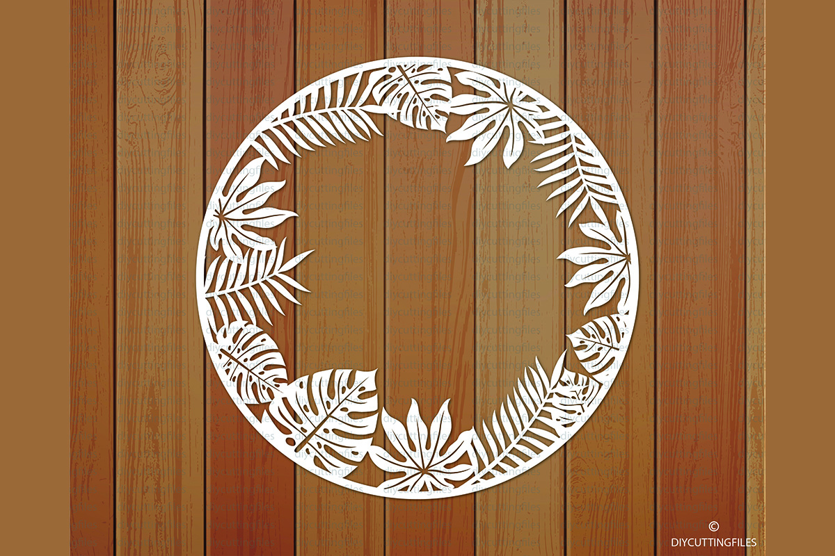 Download Free Tropical Leaves Frame Paper Cut Template Graphic By for Cricut Explore, Silhouette and other cutting machines.