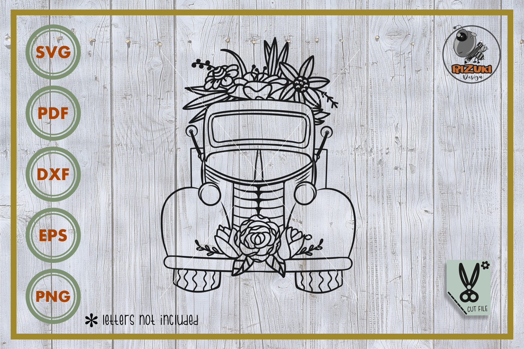 Download Free Truck Truck With Flower Cut File Graphic By Rizuki Store for Cricut Explore, Silhouette and other cutting machines.