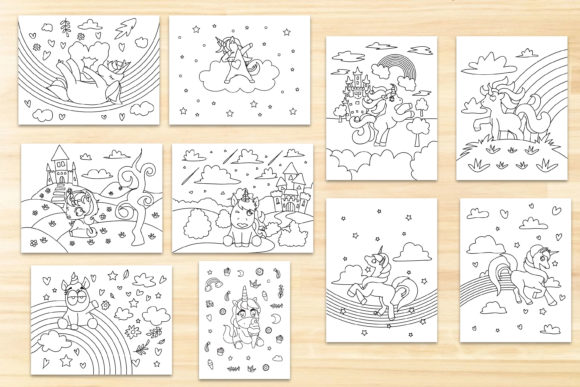 Unicorn Coloring Page Graphic Download