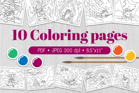 Unicorn Coloring Page Graphic