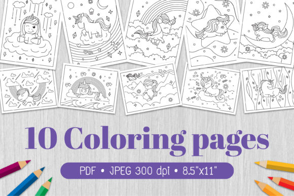 Unicorn Coloring Page Graphic Coloring Pages & Books Kids By Euphoria Design - Image 1