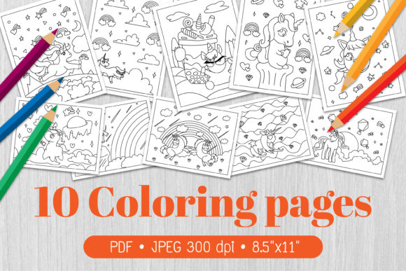Unicorn Coloring Page Graphic Coloring Pages & Books Kids By Euphoria Design