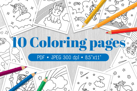 UnicornKids Coloring Page Graphic Coloring Pages & Books Kids By Euphoria Design - Image 1