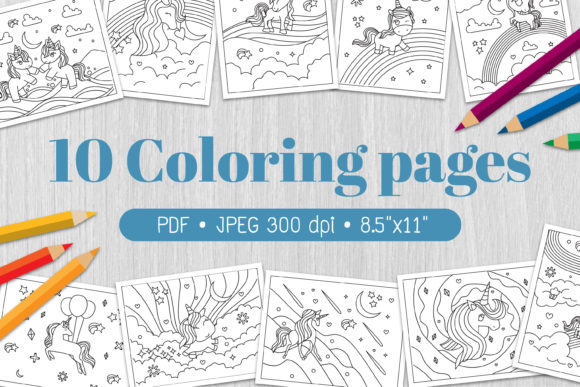 Unicorns - Coloring Pages Gráfico Coloring Pages & Books Kids Por Euphoria Design