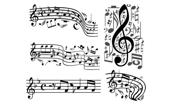 Download Free Vector Musical Notes Staff Bundle Graphic By Arief Sapta Adjie for Cricut Explore, Silhouette and other cutting machines.