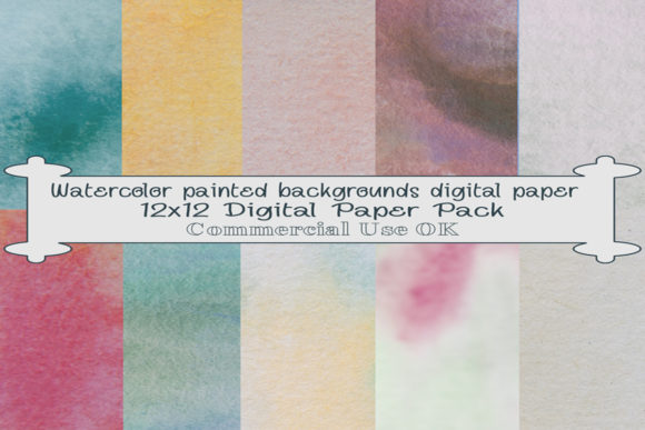 Print on Demand: Watercolor Backgrounds Digital Paper Graphic Backgrounds By A Design in Time