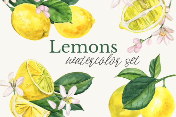 Watercolor Lemon Clipart Graphic Illustrations By lena-dorosh