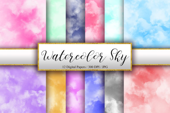 Watercolor Sky Background Digital Papers Graphic Backgrounds By PinkPearly