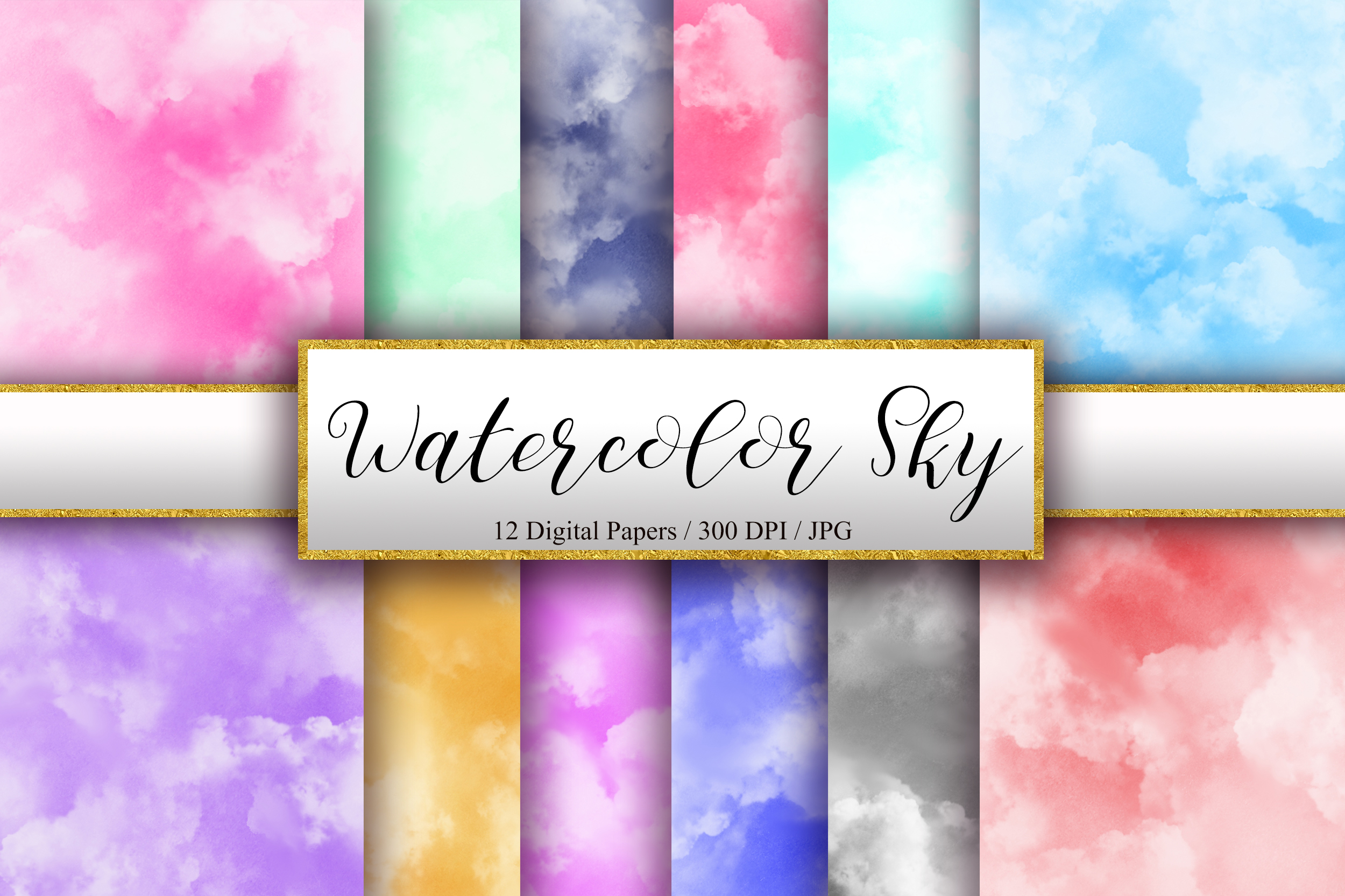 Download Free Watercolor Sky Background Digital Papers Graphic By Pinkpearly for Cricut Explore, Silhouette and other cutting machines.
