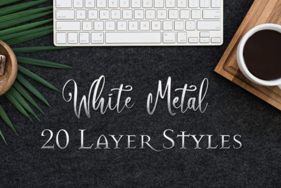 Print on Demand: White Metal - 20 Layer Styles for PS Graphic Layer Styles By SapphireXDesigns