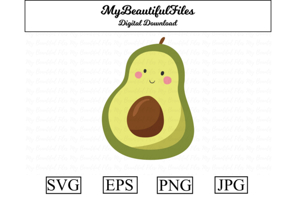 Download Free Avocado Fruit Kawaii Illustration Graphic By Mybeautifulfiles for Cricut Explore, Silhouette and other cutting machines.