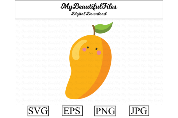 Download Free Mango Fruit Kawaii Illustration Graphic By Mybeautifulfiles for Cricut Explore, Silhouette and other cutting machines.
