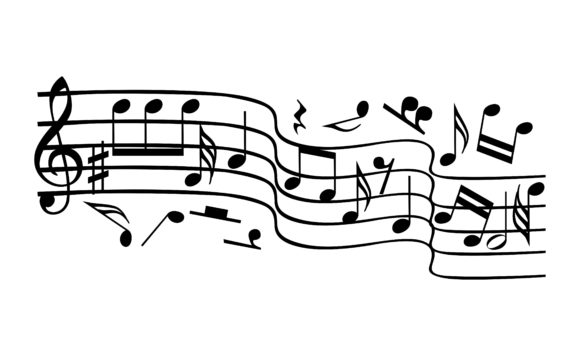 Musical Notes Staff Bundle Vector Graphic