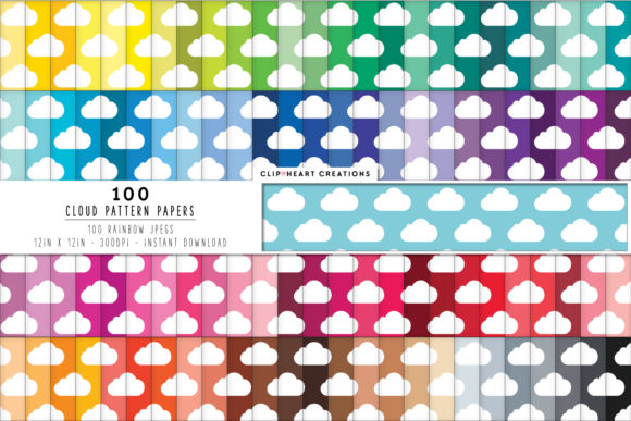 100 Cloud Pattern Papers Graphic Backgrounds By clipheartcreations