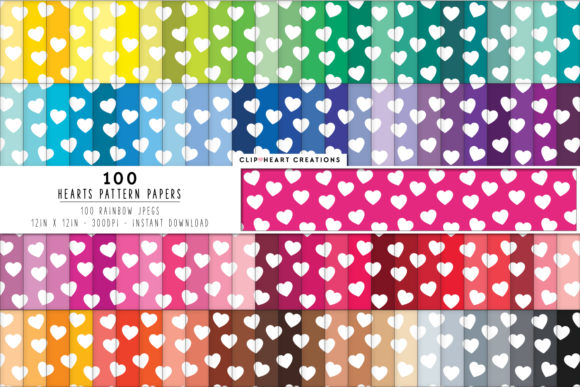 100 Hearts Pattern Papers Graphic Backgrounds By clipheartcreations