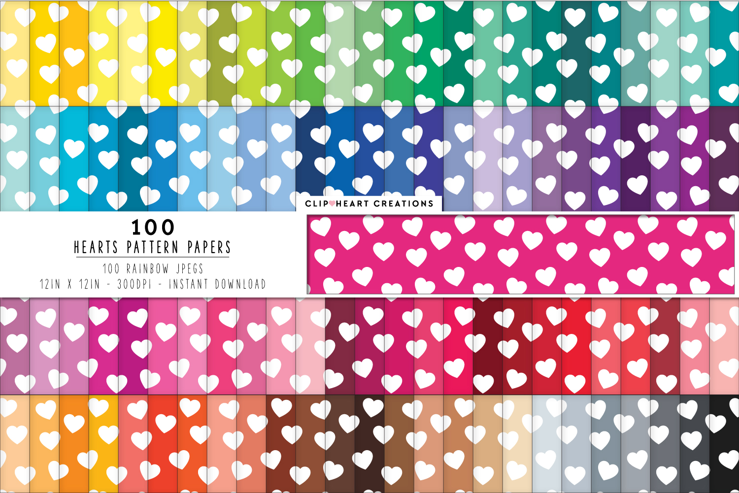 Download Free 100 Hearts Pattern Papers Graphic By Clipheartcreations for Cricut Explore, Silhouette and other cutting machines.