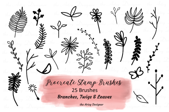 25 Procreate Stamp Brushes, Plants Twigs Graphic Brushes By The Artsy Designer