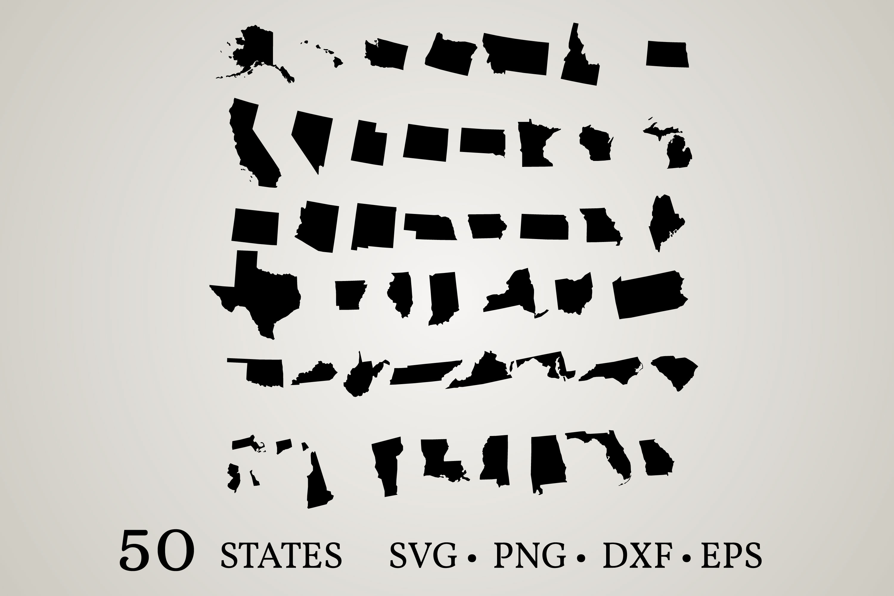 50 States of the United States SVG File