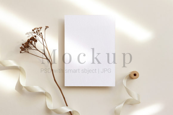 Download Free 5x7 Card Mockup Greeting Card Wedding Mo Graphic By Pawmockup for Cricut Explore, Silhouette and other cutting machines.