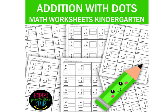 Print on Demand: Addition with Dots for Kindergarten Graphic K By Happy Printables Club