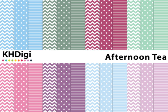 Print on Demand: Afternoon Tea Digital Paper Graphic Backgrounds By KHDigi