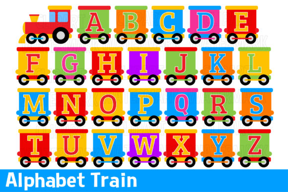 Alphabet Train Clipart Graphic Illustrations By magreenhouse - Image 1