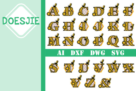 Bee Alphabet Multi Layer Mandala a-z Graphic 3D SVG By doesjie