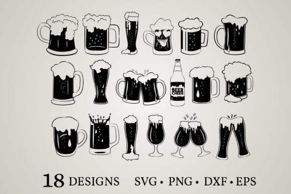 Download Free Beer Glass Mug Graphic By Euphoria Design Creative Fabrica for Cricut Explore, Silhouette and other cutting machines.