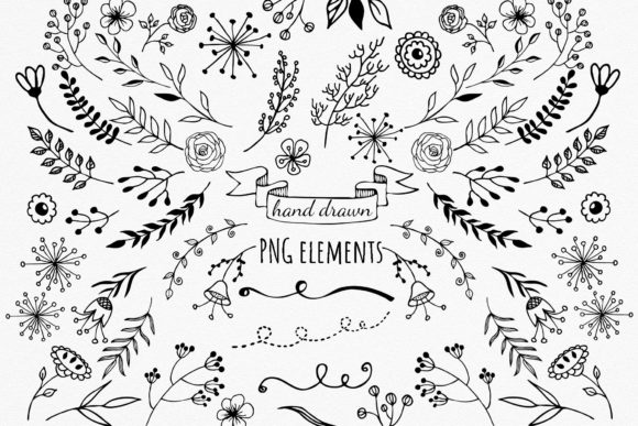 Black Florals Set - Hand Drawn Doodles Graphic Objects By RedDotsHouse