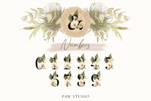 Download Free Boho Alphabet Numbers Letters Graphics Grafico Por Pawstudio for Cricut Explore, Silhouette and other cutting machines.