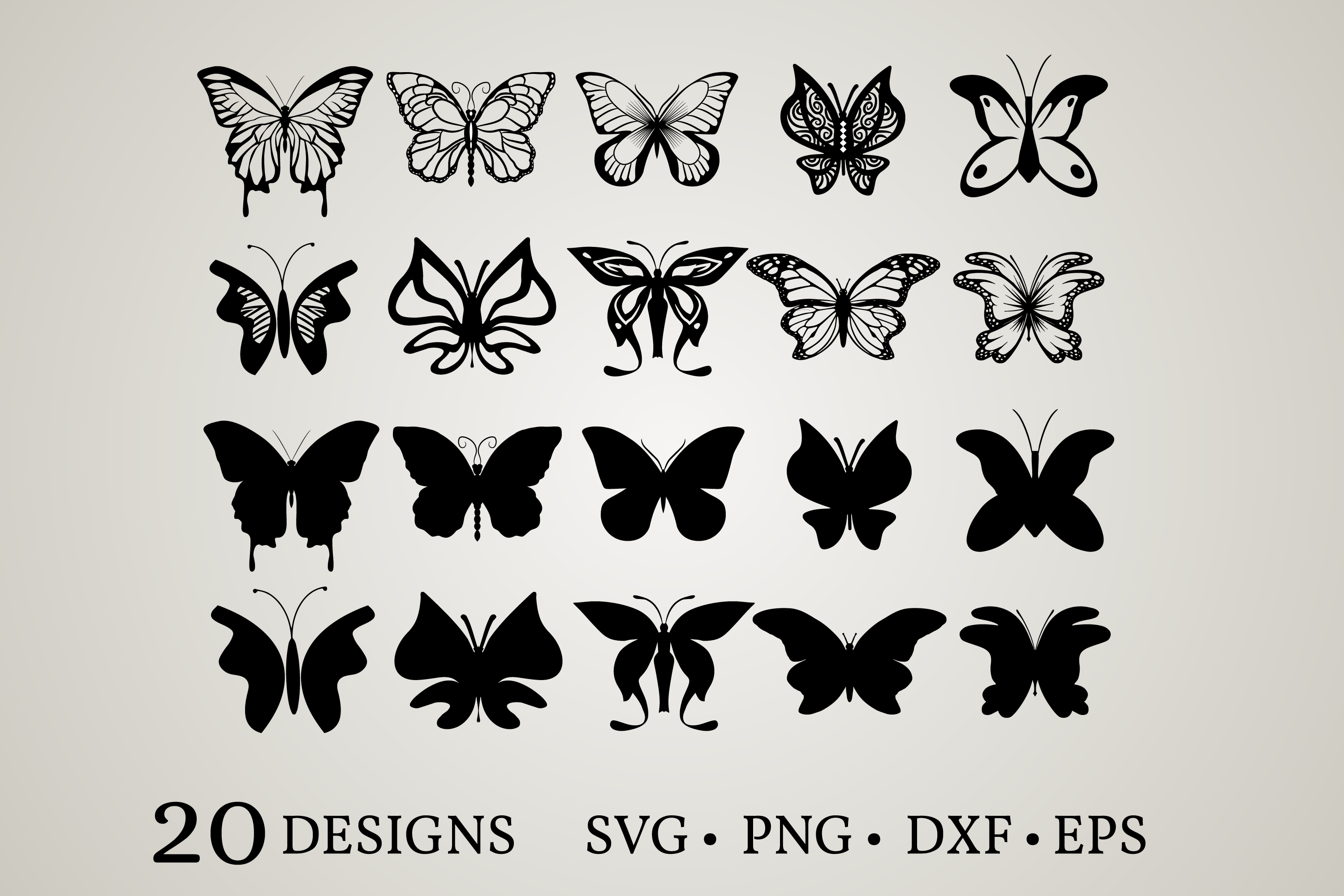 Download Free Butterfly Bundle Graphic By Euphoria Design Creative Fabrica for Cricut Explore, Silhouette and other cutting machines.