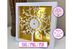 Download Free Clock Tree Paper Cut Light Box Decal Graphic By Jumbleink SVG Cut Files