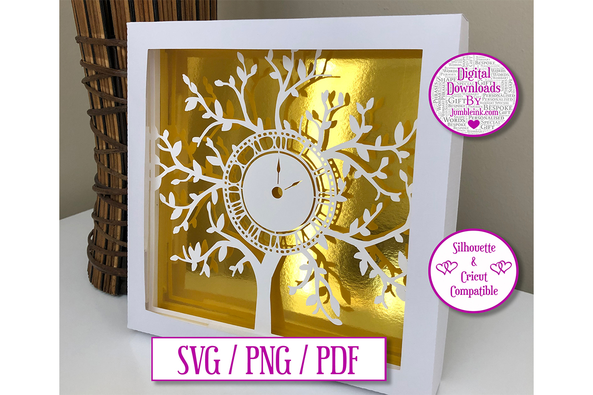 Download Free Clock Tree Paper Cut Light Box Decal Graphic By Jumbleink Digital Downloads Creative Fabrica for Cricut Explore, Silhouette and other cutting machines.