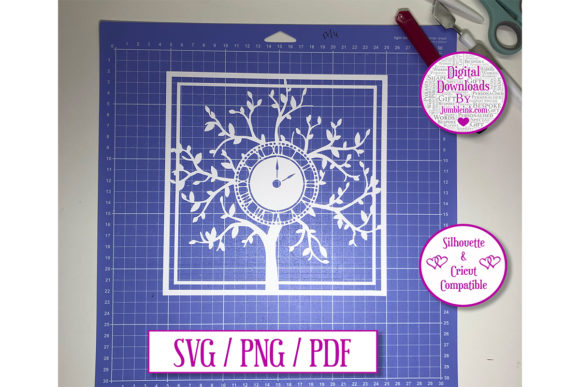 Clock Tree Paper Cut Light Box Decal Graphic By Jumbleink