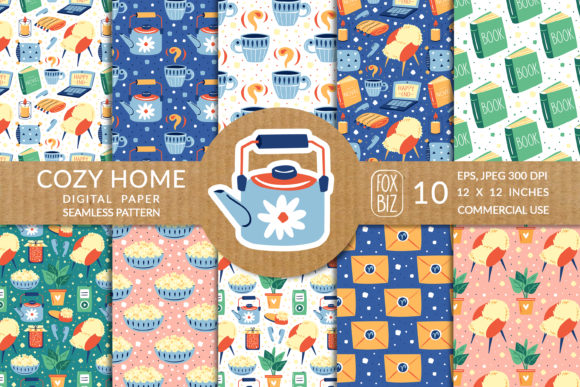 Print on Demand: Cozy Home Cute Vector Seamless Patterns. Graphic Patterns By FoxBiz