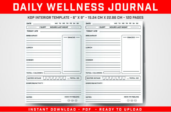 Print on Demand: Daily Wellness Journal Graphic KDP Interiors By balajikonline