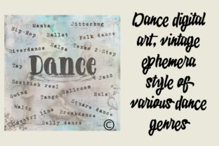 Download Free Dance Digital Art Vintage Ephemera Graphic By A Design In Time for Cricut Explore, Silhouette and other cutting machines.