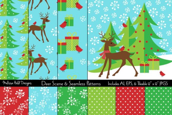 Download Free Deer Scene Seamless Patterns Graphic By Melissa Held Designs for Cricut Explore, Silhouette and other cutting machines.
