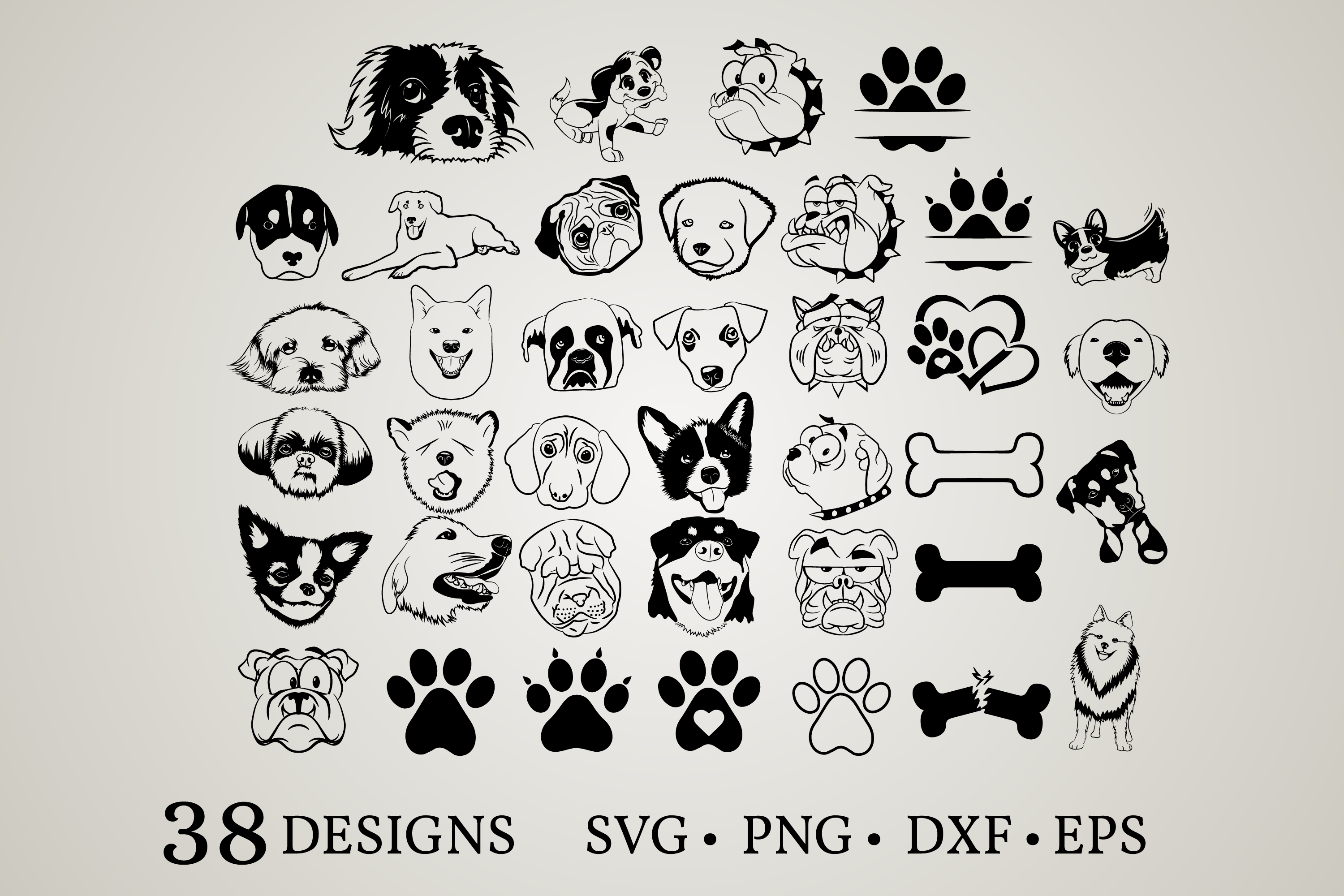 Download Free Dog Bundle Graphic By Euphoria Design Creative Fabrica for Cricut Explore, Silhouette and other cutting machines.