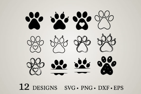 Dog Paw Bundle Graphic Print Templates By Euphoria Design