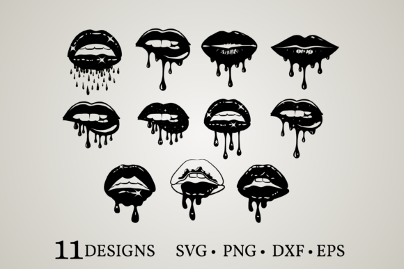 Dripping Lips Bundle Grafik Druck-Templates von Euphoria Design