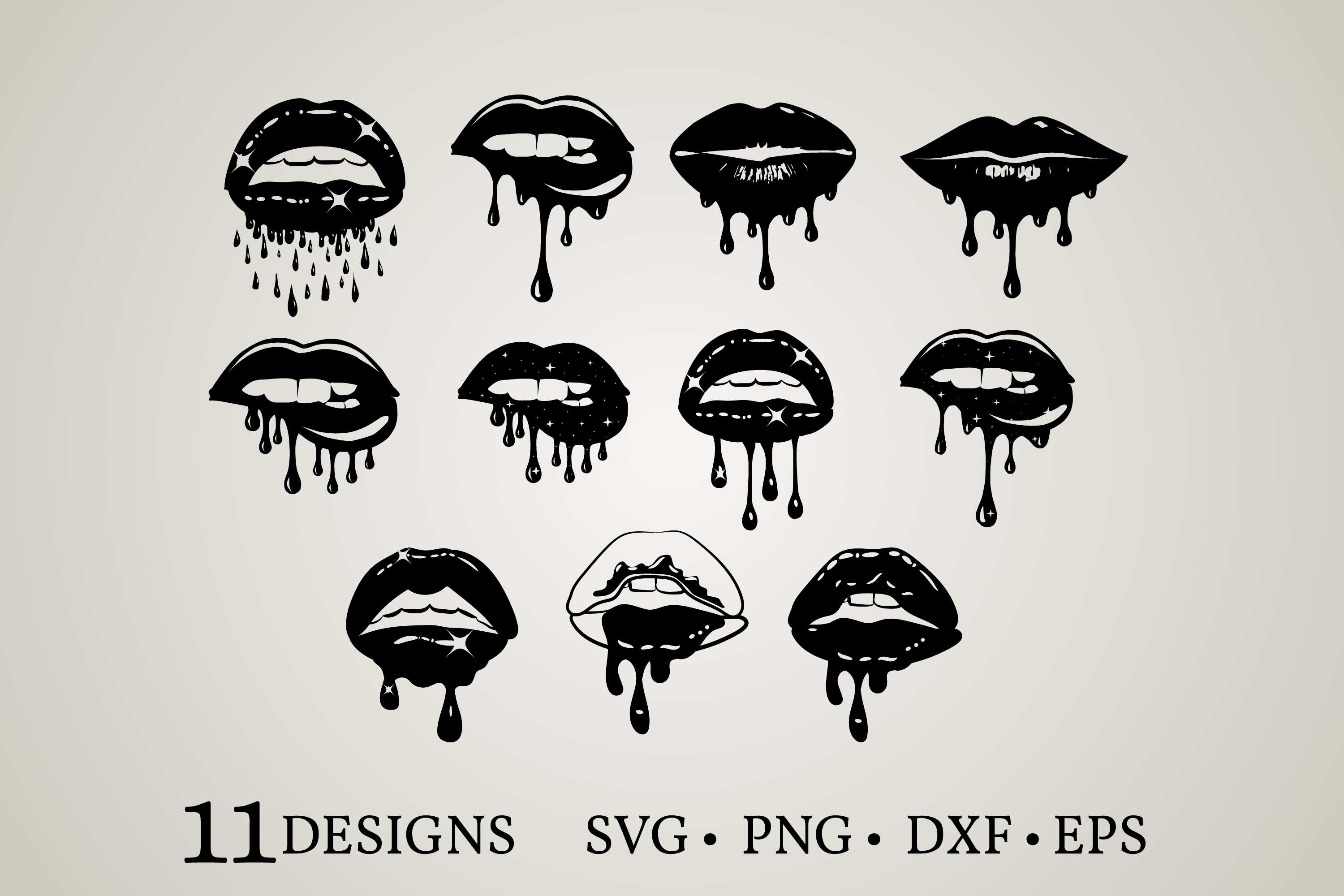 Download Free Dripping Lips Bundle Graphic By Euphoria Design Creative Fabrica for Cricut Explore, Silhouette and other cutting machines.
