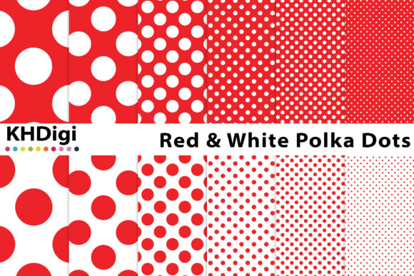 Print on Demand: Essential Red Polka Dots Graphic Backgrounds By KHDigi