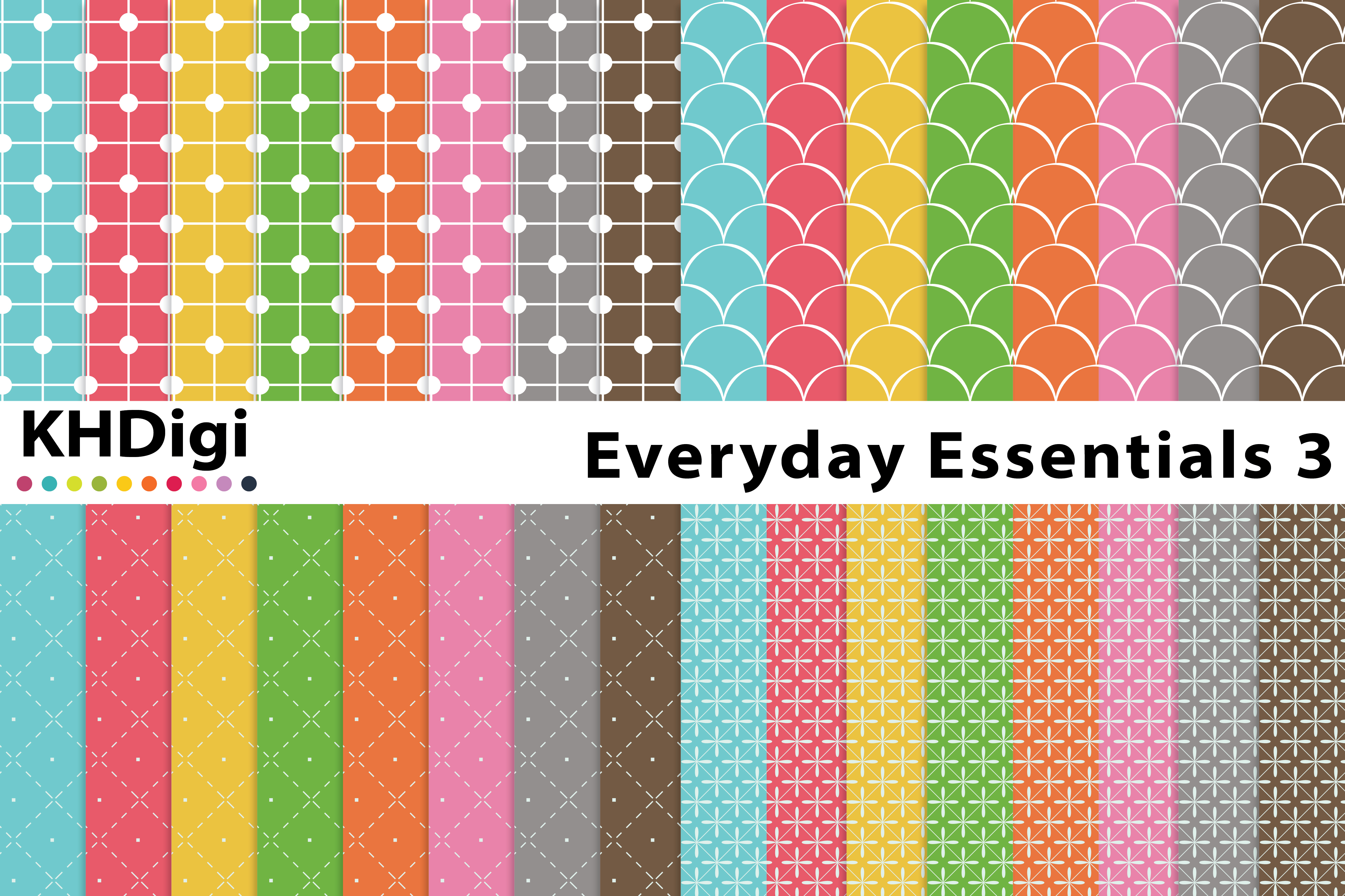 Download Free Everyday Essentials 3 Digital Paper Graphic By Khdigi Creative for Cricut Explore, Silhouette and other cutting machines.
