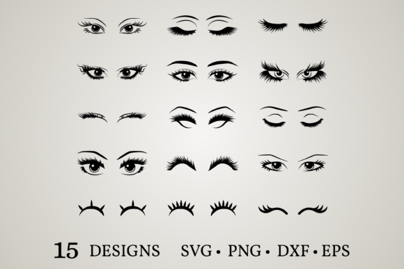 Eyelashes Bundle Grafik Druck-Templates von Euphoria Design