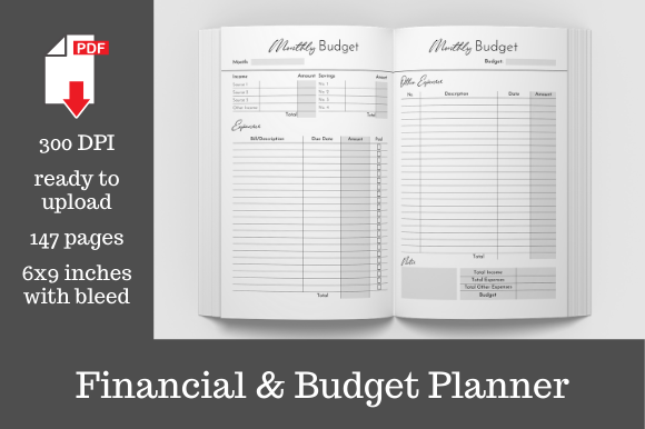 Print on Demand: Financial Budget Planner   Graphic KDP Interiors By KDP Template Designs